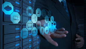 Businessman working with a Cloud Computing diagram on the new computer interface as concept-1