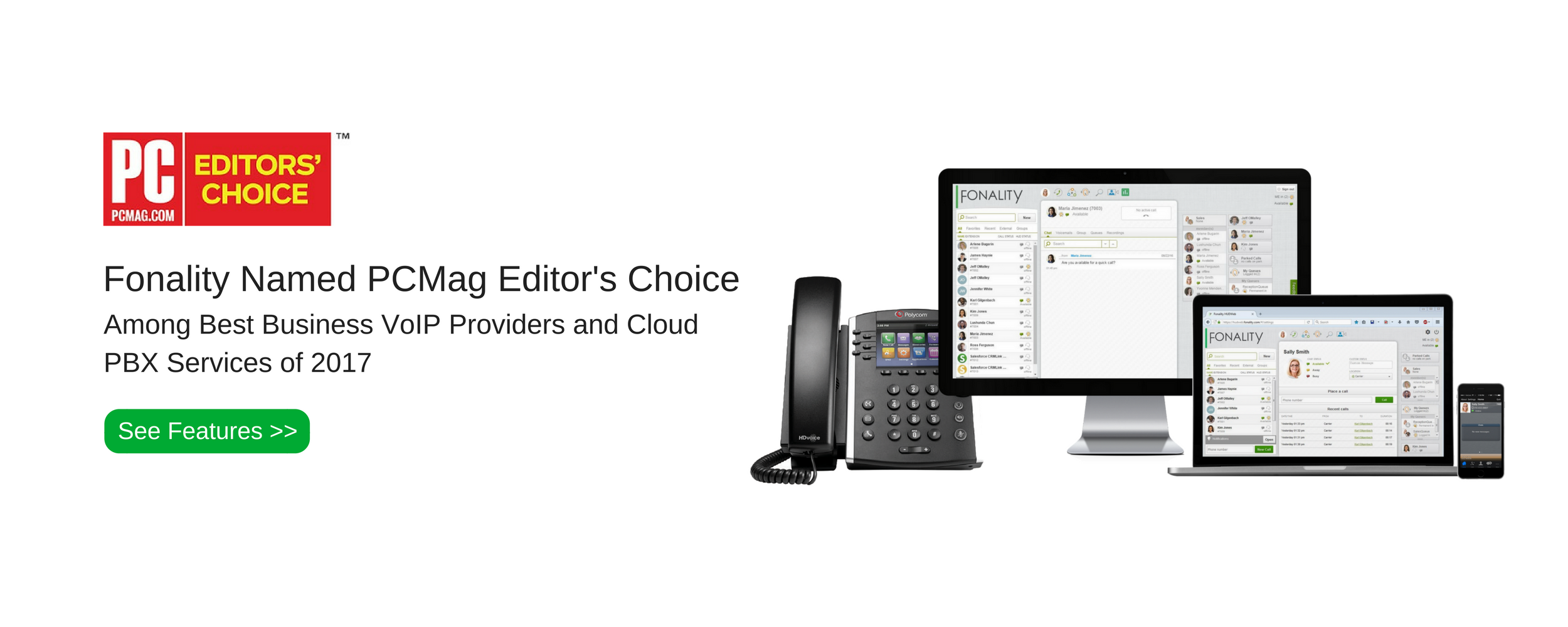 Fonality Named PCMag Editor's Choice Among Best Business VoIP Providers and Cloud PBX Services of 2017