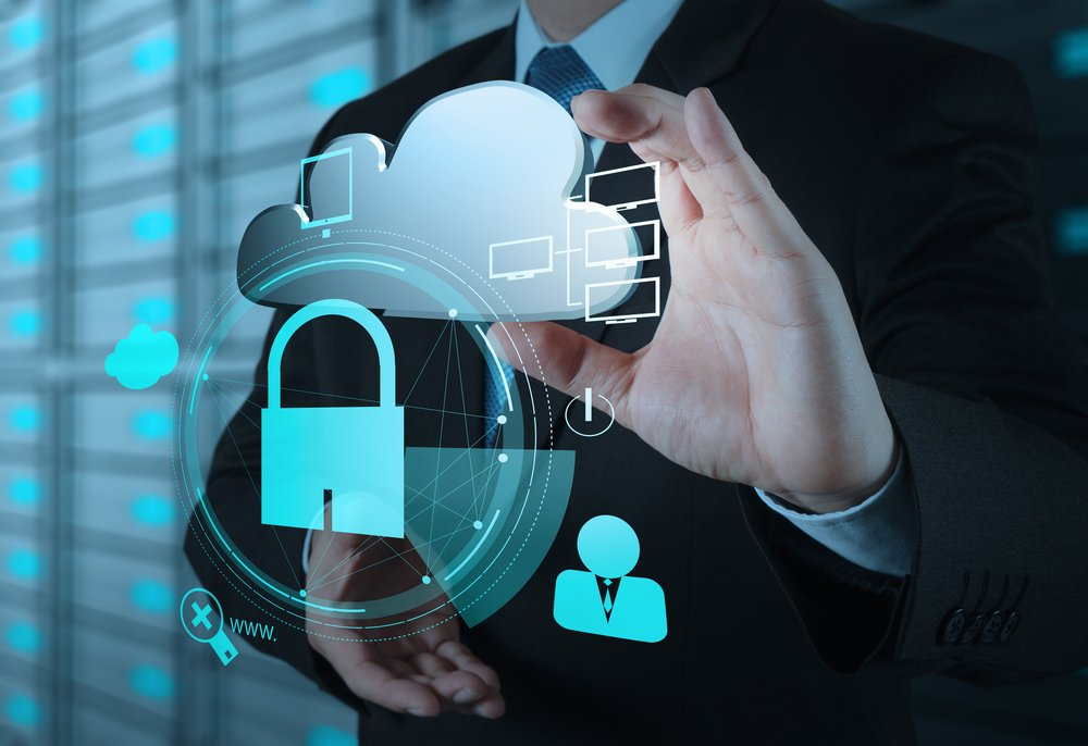 businessman hand show 3d cloud icon with padlock as Internet security online business concept